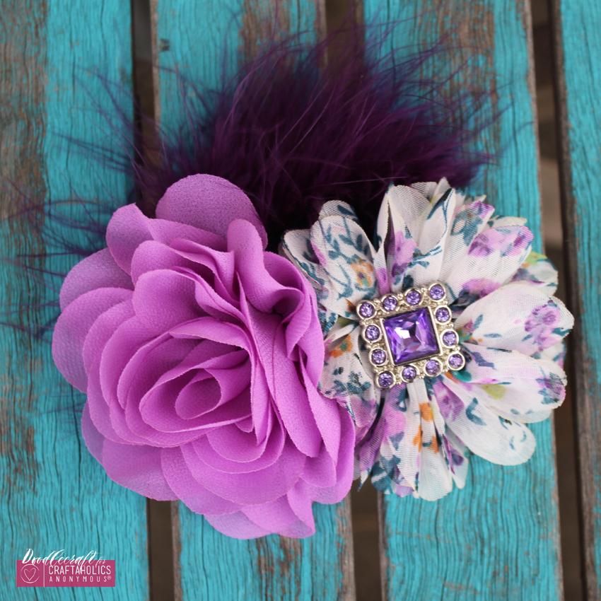 Shabby Chic hair bow clip orchid flowers chiffon marabou feather rhinestone button easy diy (12) CA