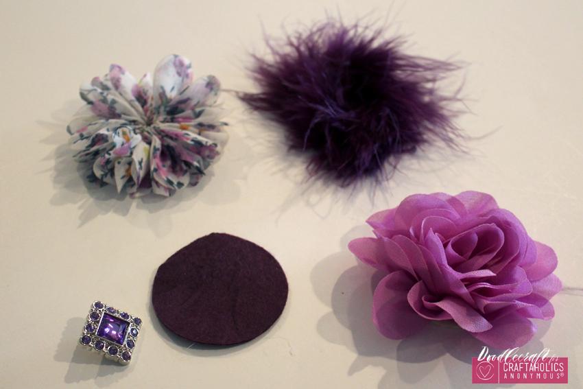Shabby Chic hair bow clip orchid flowers chiffon marabou feather rhinestone button easy diy (13) CA