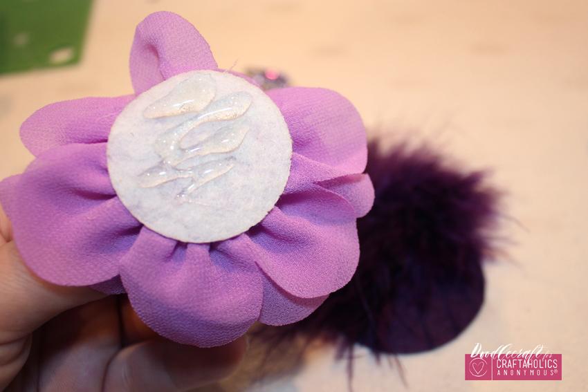 Shabby Chic hair bow clip orchid flowers chiffon marabou feather rhinestone button easy diy (7) CA