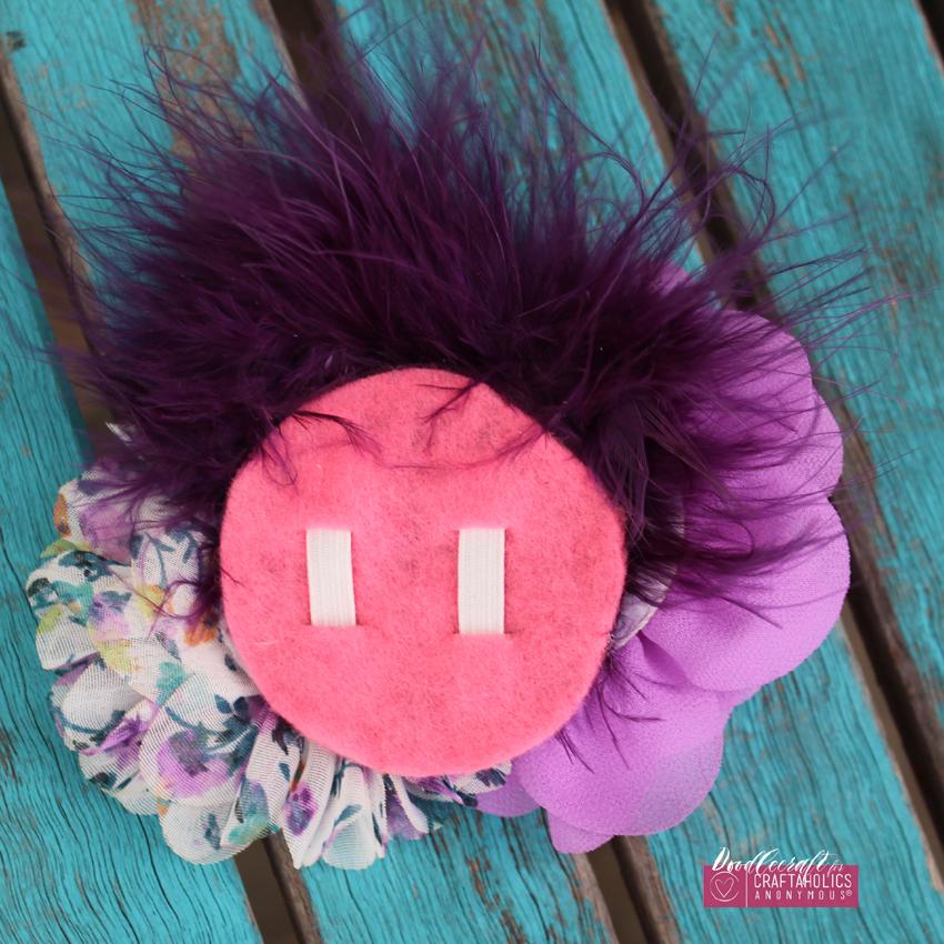 Shabby Chic hair bow clip orchid flowers chiffon marabou feather rhinestone button easy diy (8) CA