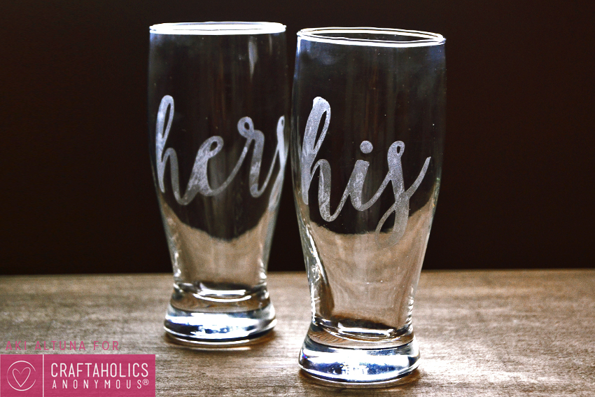 his and hers etched glasses