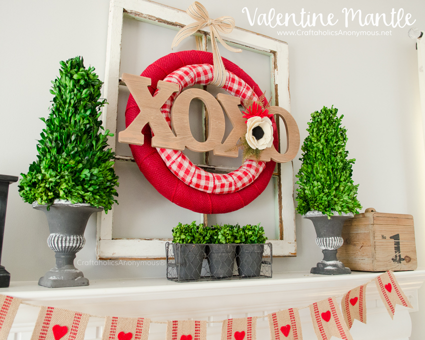Valentine's Day Mantle :: DIY Valentine Decor for wreath and bunting
