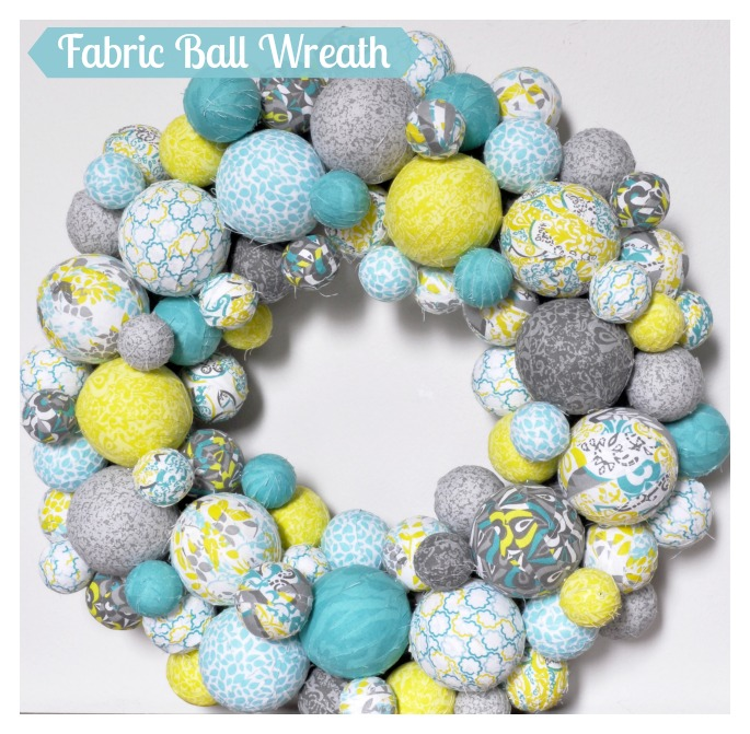 fabric ball spring wreath