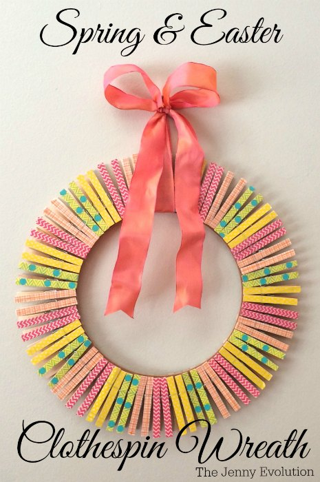 clothespin spring wreath