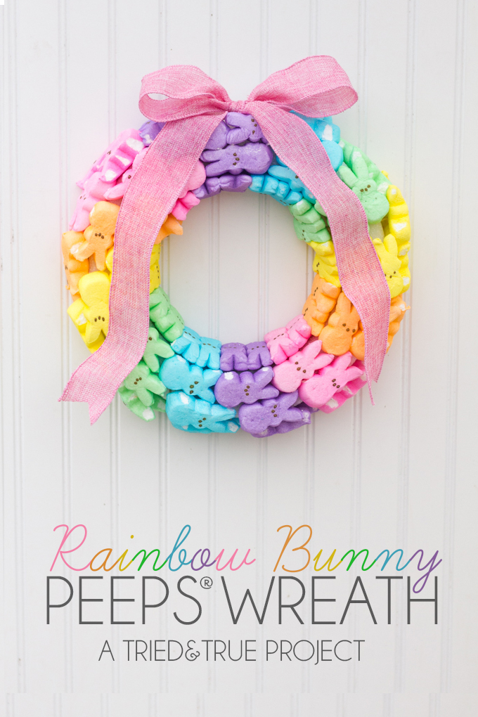 spring rainbow bunny peeps wreath