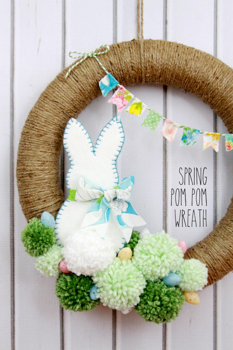 spring bunting pompom wreath