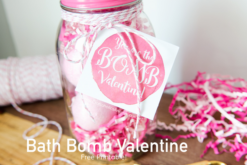 "Last Minute handmade Valentine gift idea! You are the Bomb free printable tag. ""You are the BOMB Valentine"" found on www.CraftaholicsAnonymous.net"