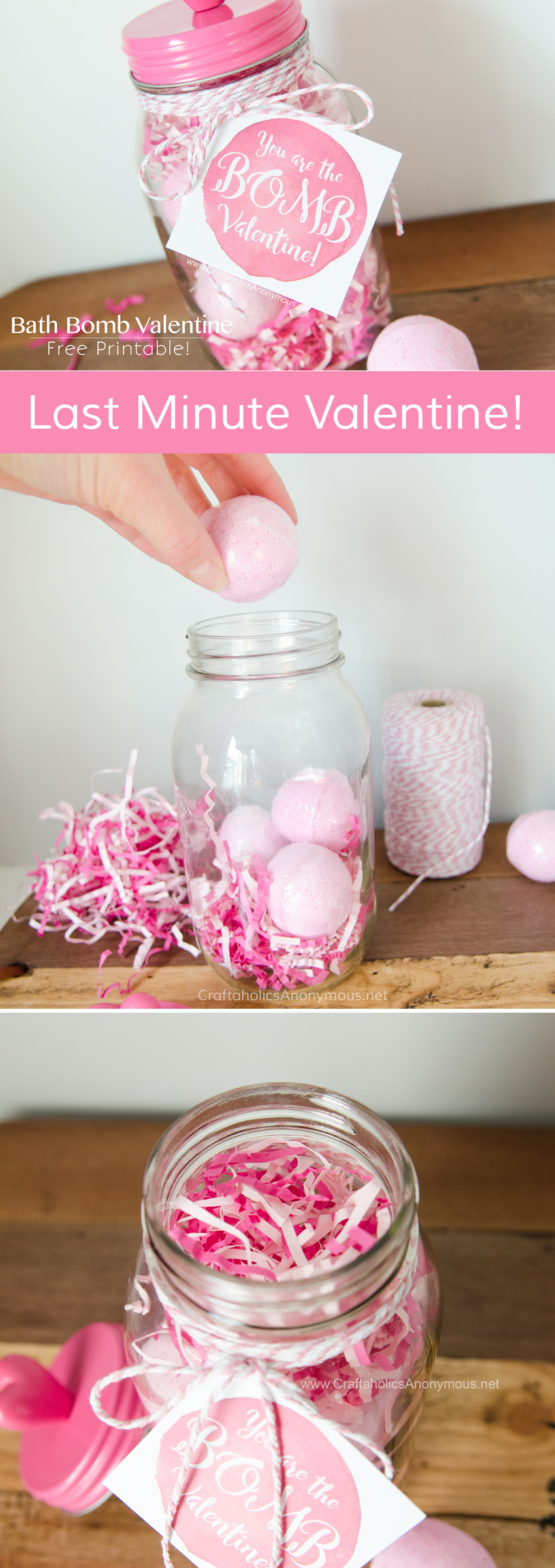 Valentine Bath Bomb in a Mason Jar gift idea with FREE printable tag! www.CraftaholicsAnonymous.net