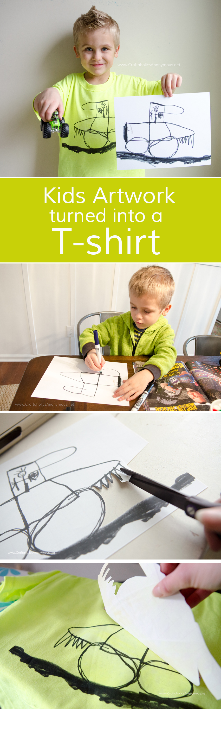 Let kids design their own t-shirt with their artwork! Easy DIY tutorial