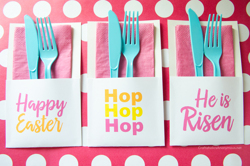 Free Printable Easter Utensil Holders! So cute. 3 designs to choose from. www.CraftaholicsAnonymous.net