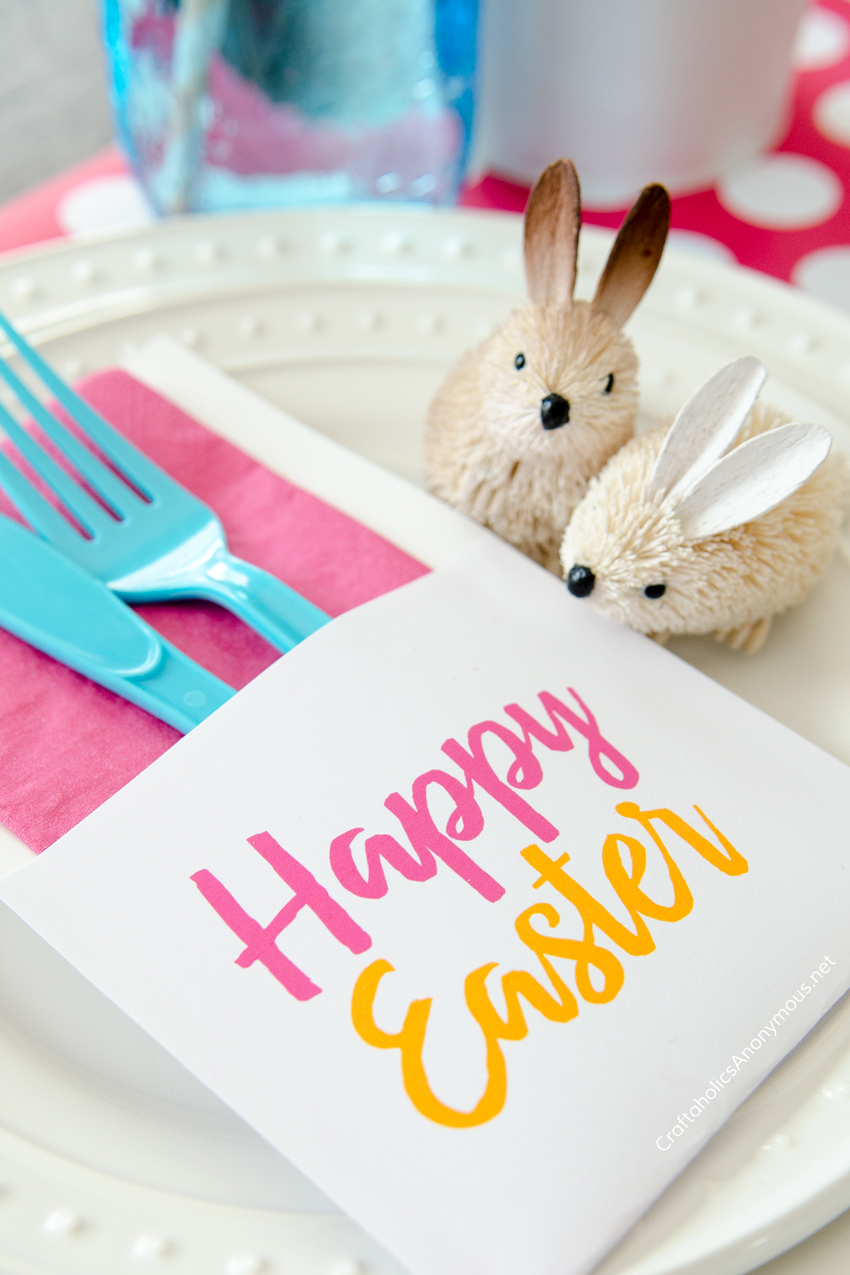 Adorable Free Printable Easter Utensil Holders :: Love those rabbits! www.CraftaholicsAnonymous.net