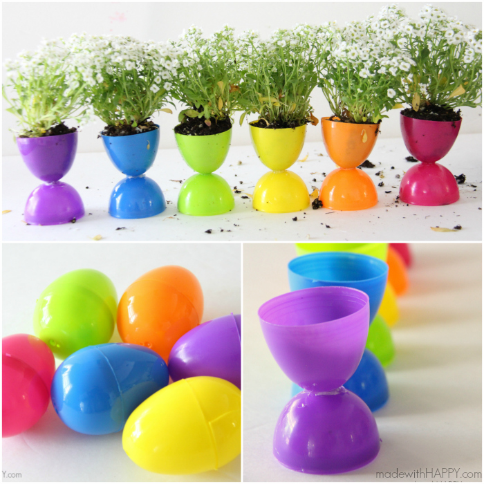 Rainbow Easter Egg Flower Pots