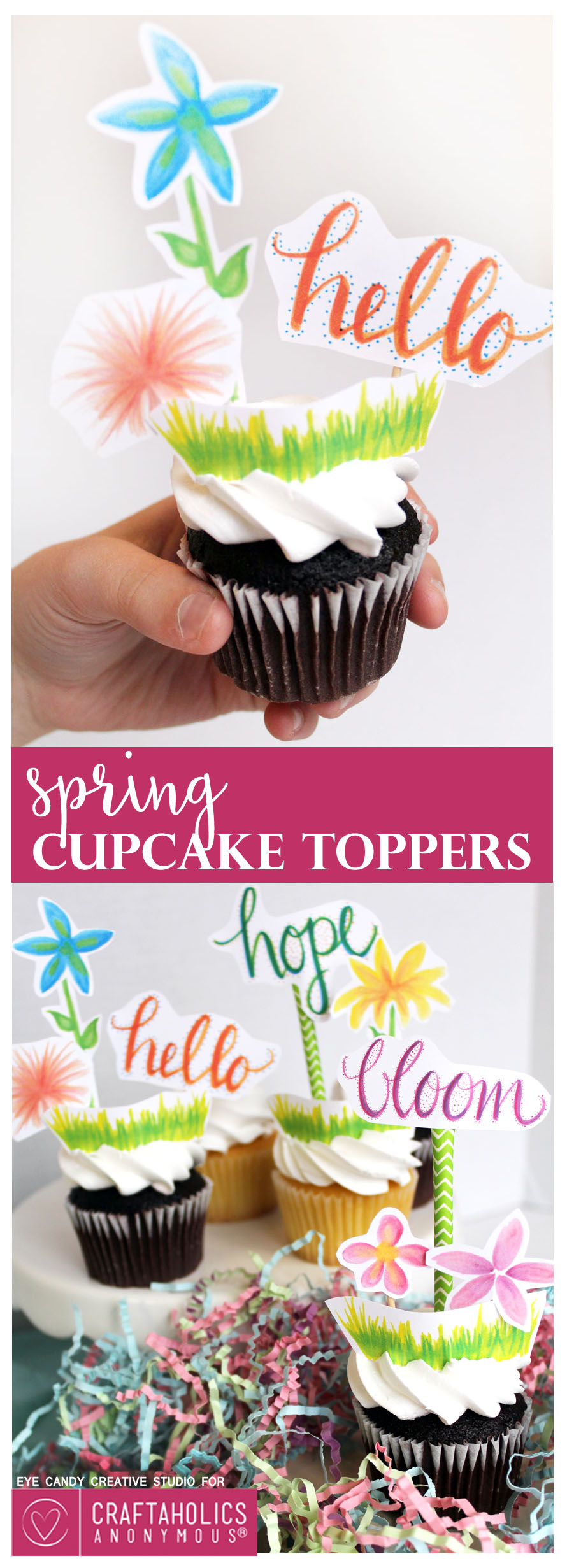 Free Printable Spring Cupcake Toppers :: So colorful and cute! Perfect for a garden party.
