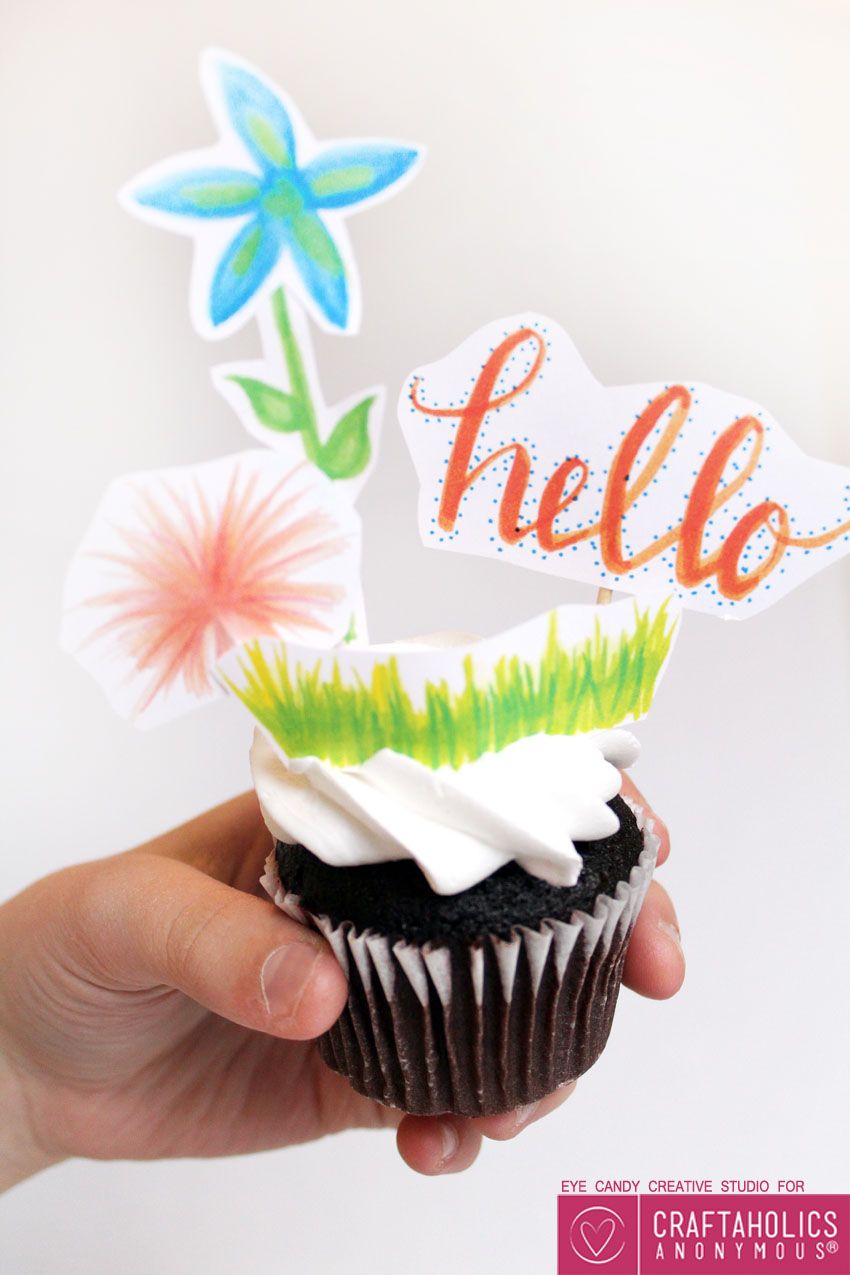 Free Printable Cupcake Toppers for spring party