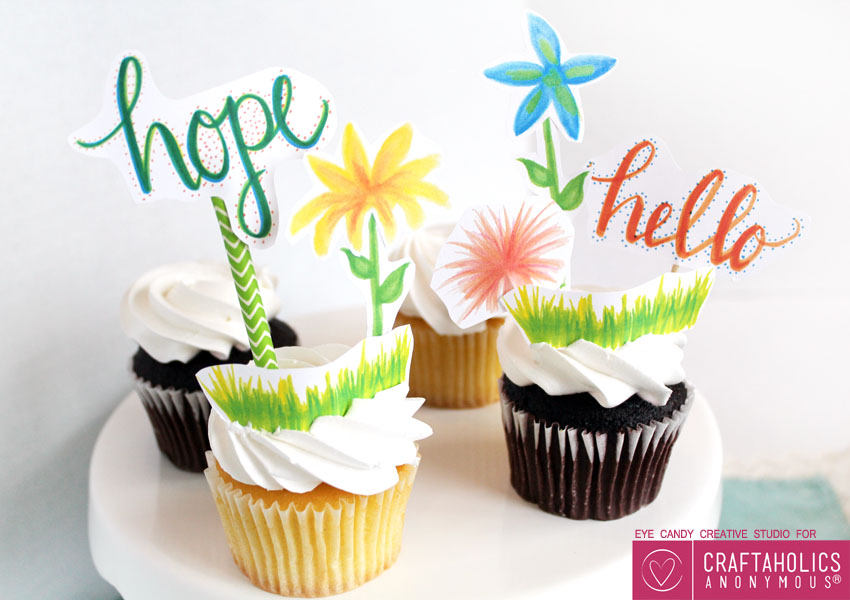 Free Spring printables - Cupcake Toppers