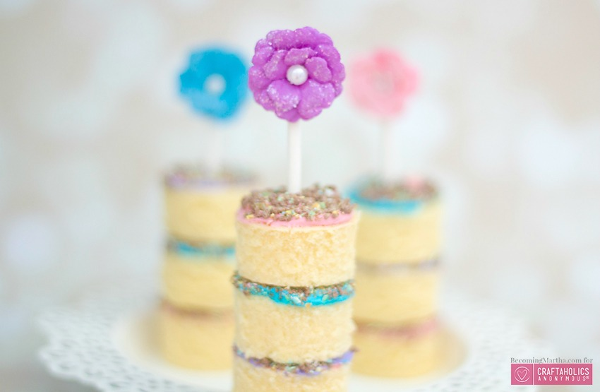 Mini Easter Cake Stacks dessert recipe using Mini Cadbury eggs
