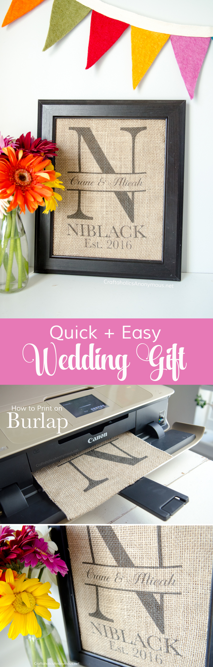 Easy Wedding gift idea! Print custom monogram on burlap and pop in a frame. Love this idea!