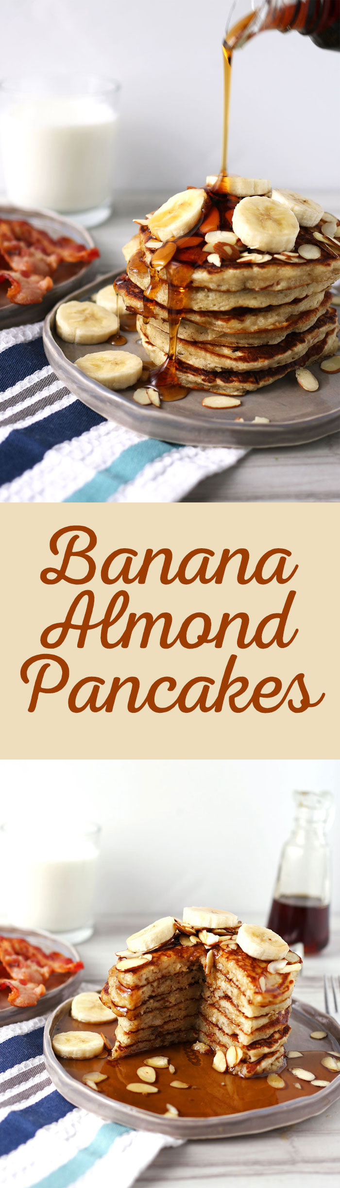 Make these delicious Banana Almond Pancakes for your next brunch or Saturday morning breakfast! Get the recipe at craftaholicsanonymous.net
