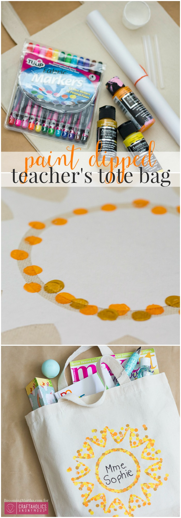 Easy Last Minute Teacher Appreciation Gift Idea! Personalize this canvas tote for your favorite teacher this year!