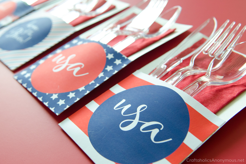 Free Printable 4th of July Utensil Holders. Great for BBQ's or patriotic gatherings.