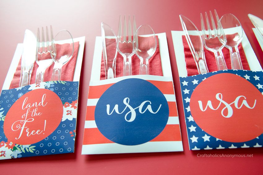 Independence Day Utensil Holders - Free Printable
