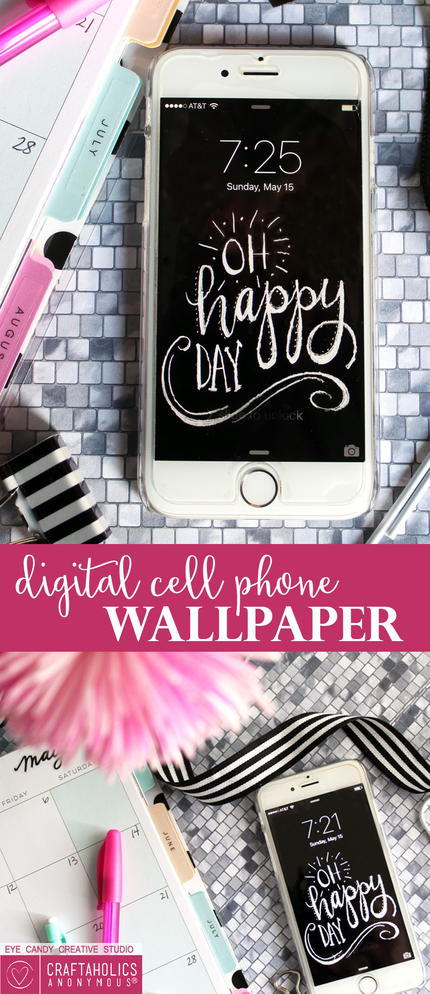 Download this Free Cellphone Wallpaper for a daily happy reminder to be happy! Get it at craftaholicsanonymous.net!