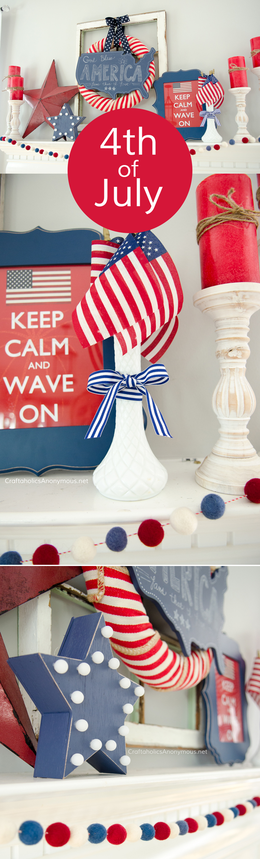 DIY 4th of July Mantle decor