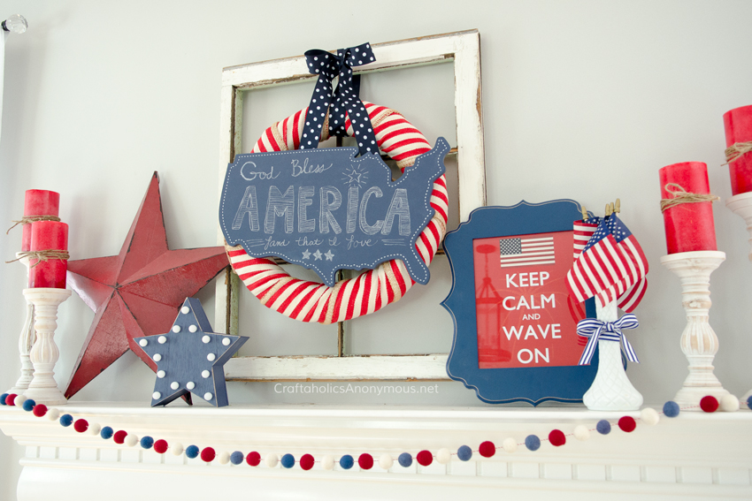 DIY 4th of July Mantel decor