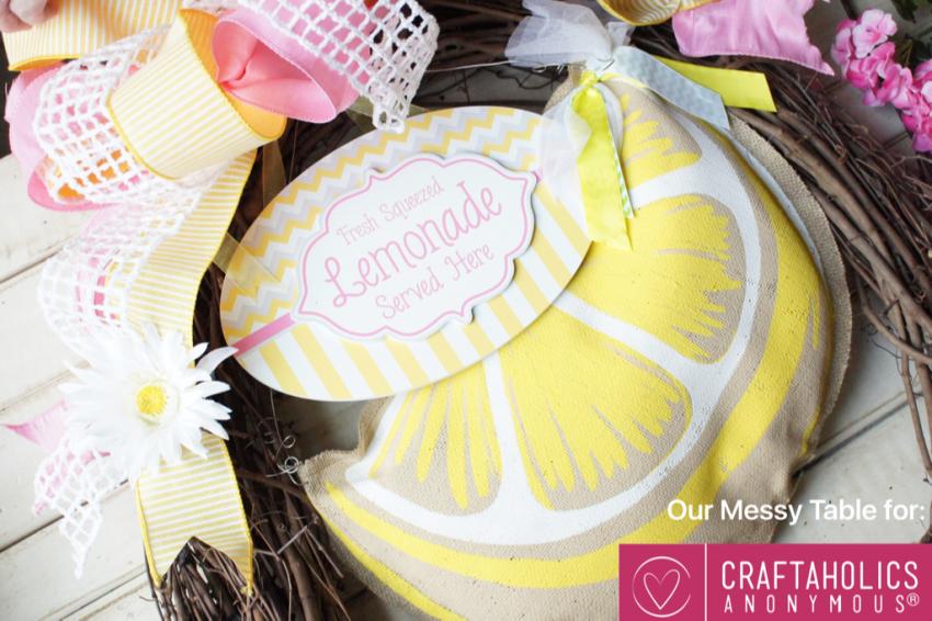 cute summer lemonade wreath