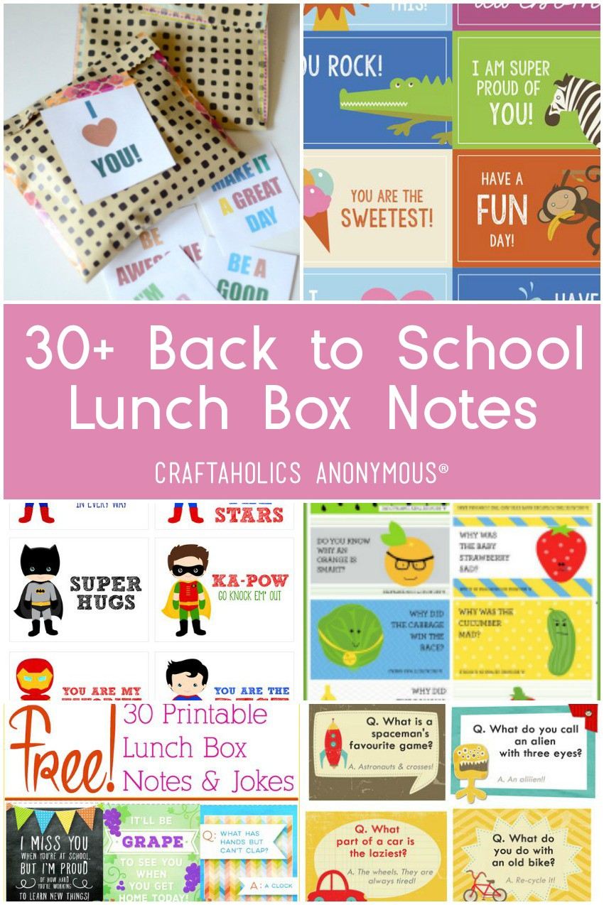 30+ Lunch Box Notes for Back To School