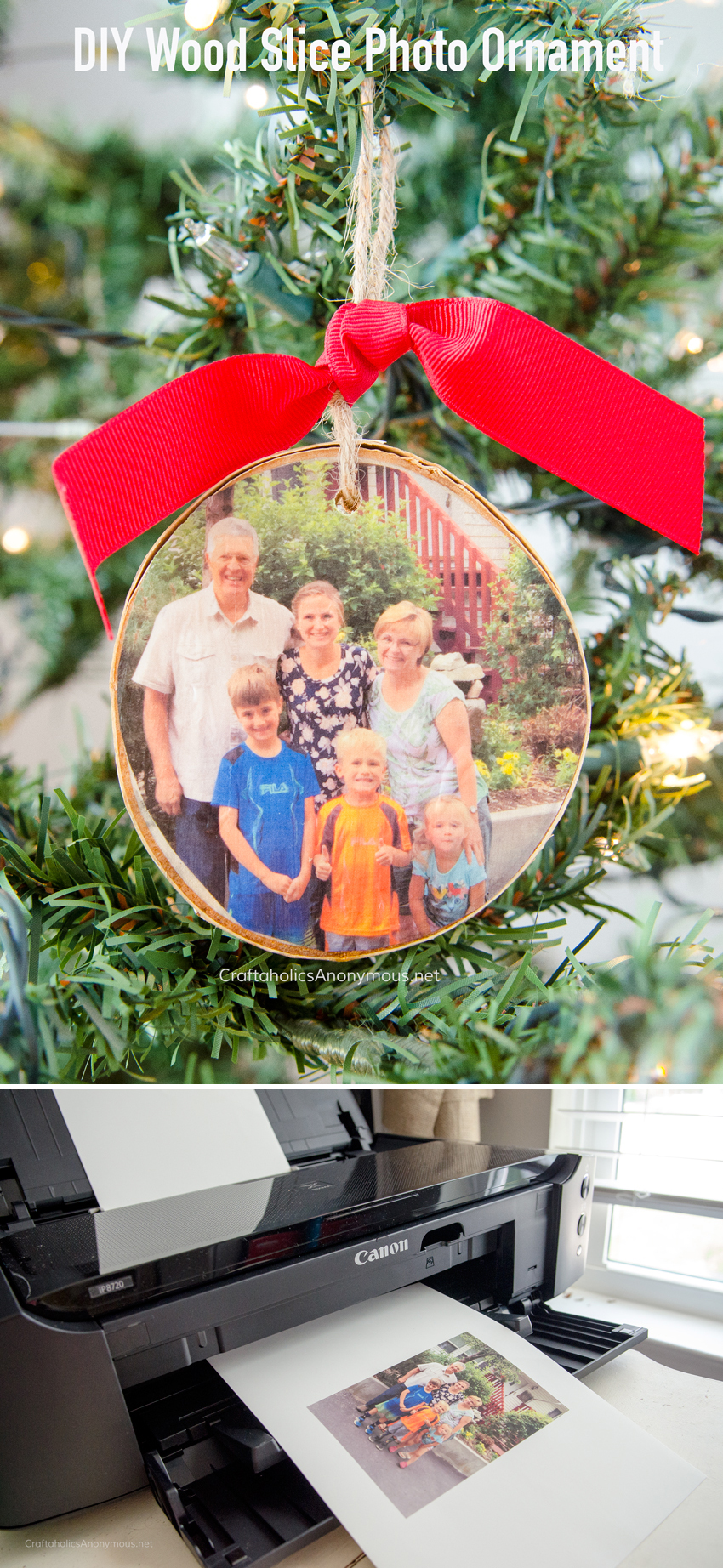 DIY Picture Wood Slice Ornament
