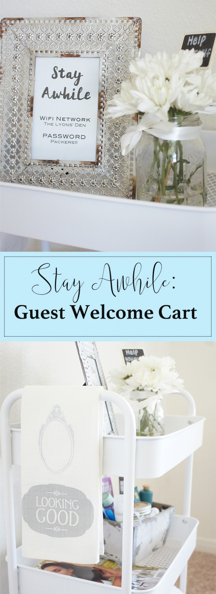Welcome your guests and make them feel at home with this pretty hospitality cart!