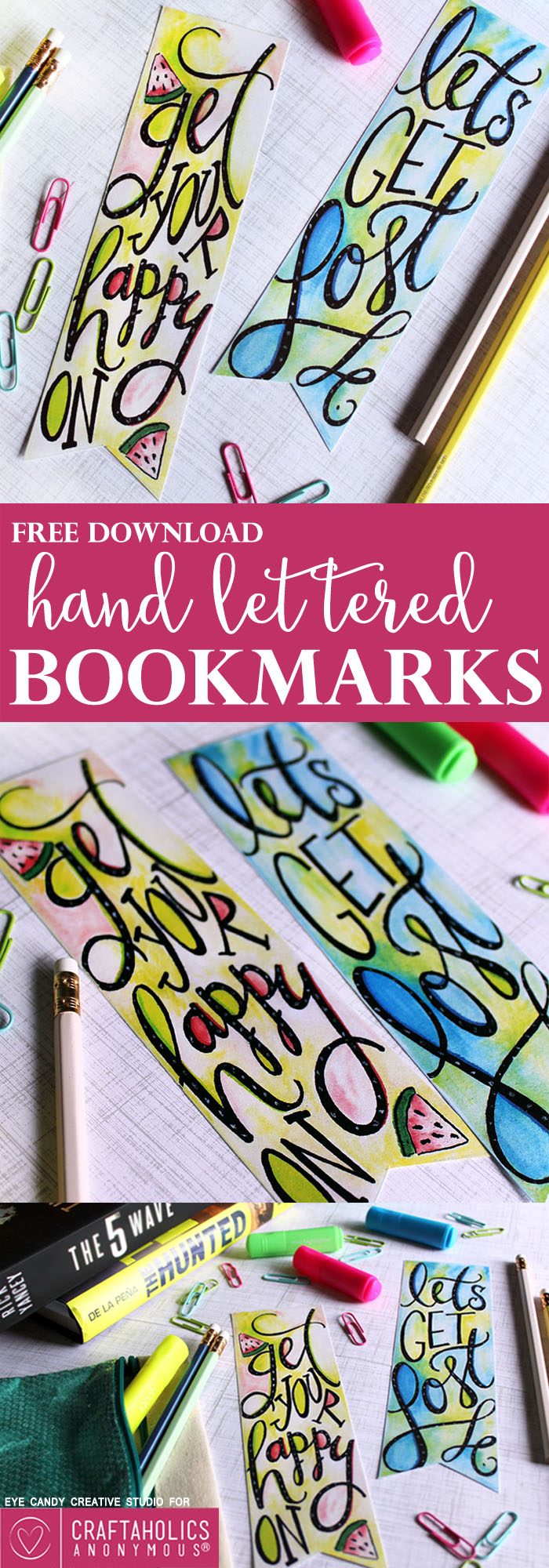 Free Printable Hand Lettered Bookmarks from craftaholicsanonymous.net