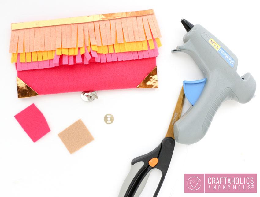 DIY no-sew fringe pencil case