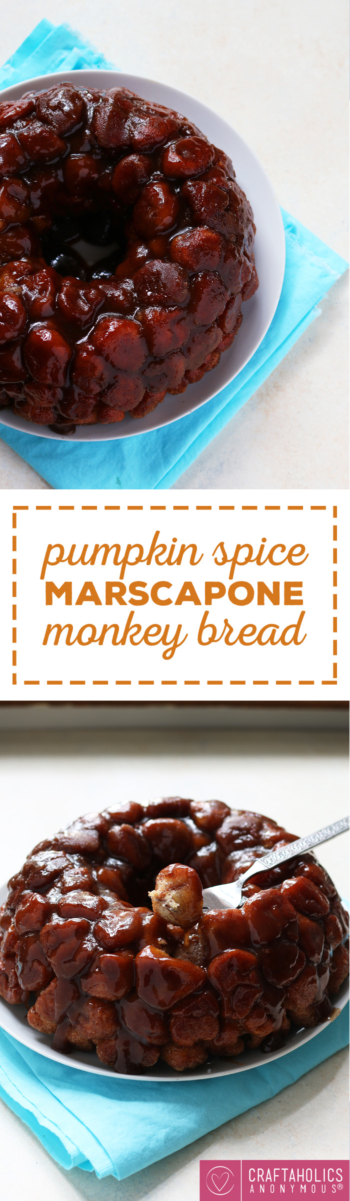 Pumpkin Spice Marscapone Monkey Bread - this amazing fall dessert will fill your home with a delicious aroma and be a sweet treat on crisp autumn nights! craftaholicsanonymous.net