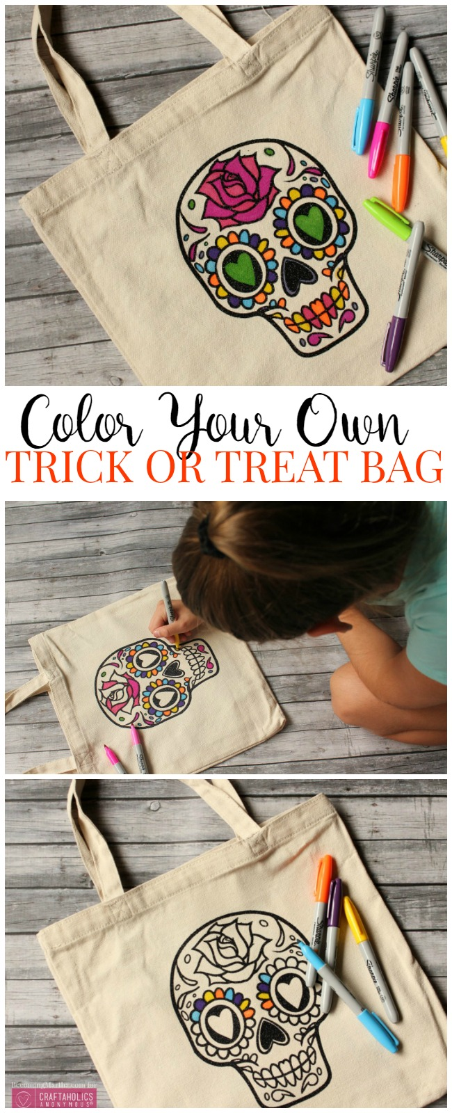 How to make your own customized Color Your Own Trick or Treat Bag for candy this year!