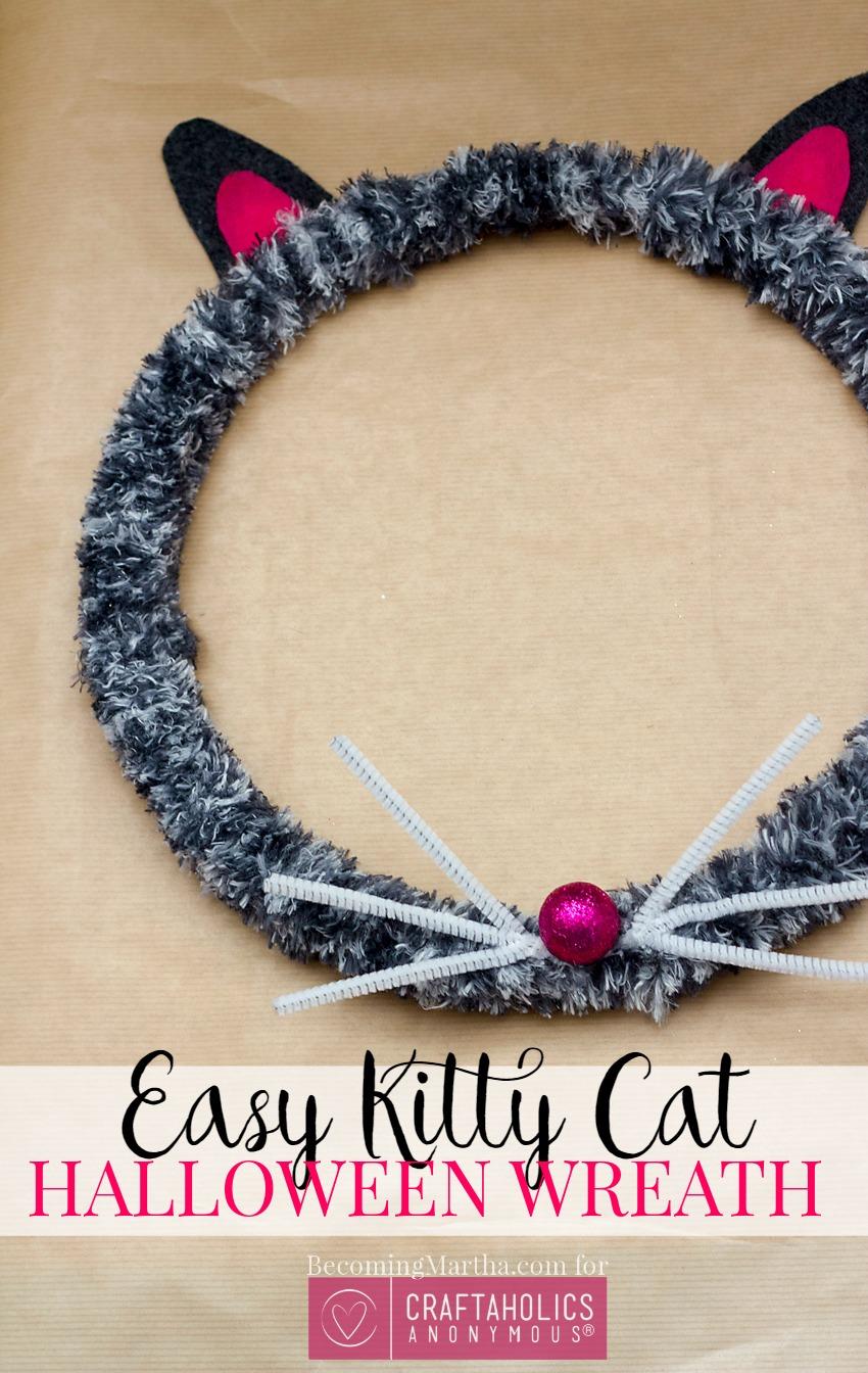 easy halloween cat wreath