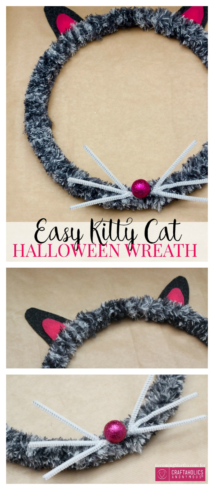 Make this easy Cat Halloween Wreath in an afternoon for your front porch! Craftaholicsanonymous.net