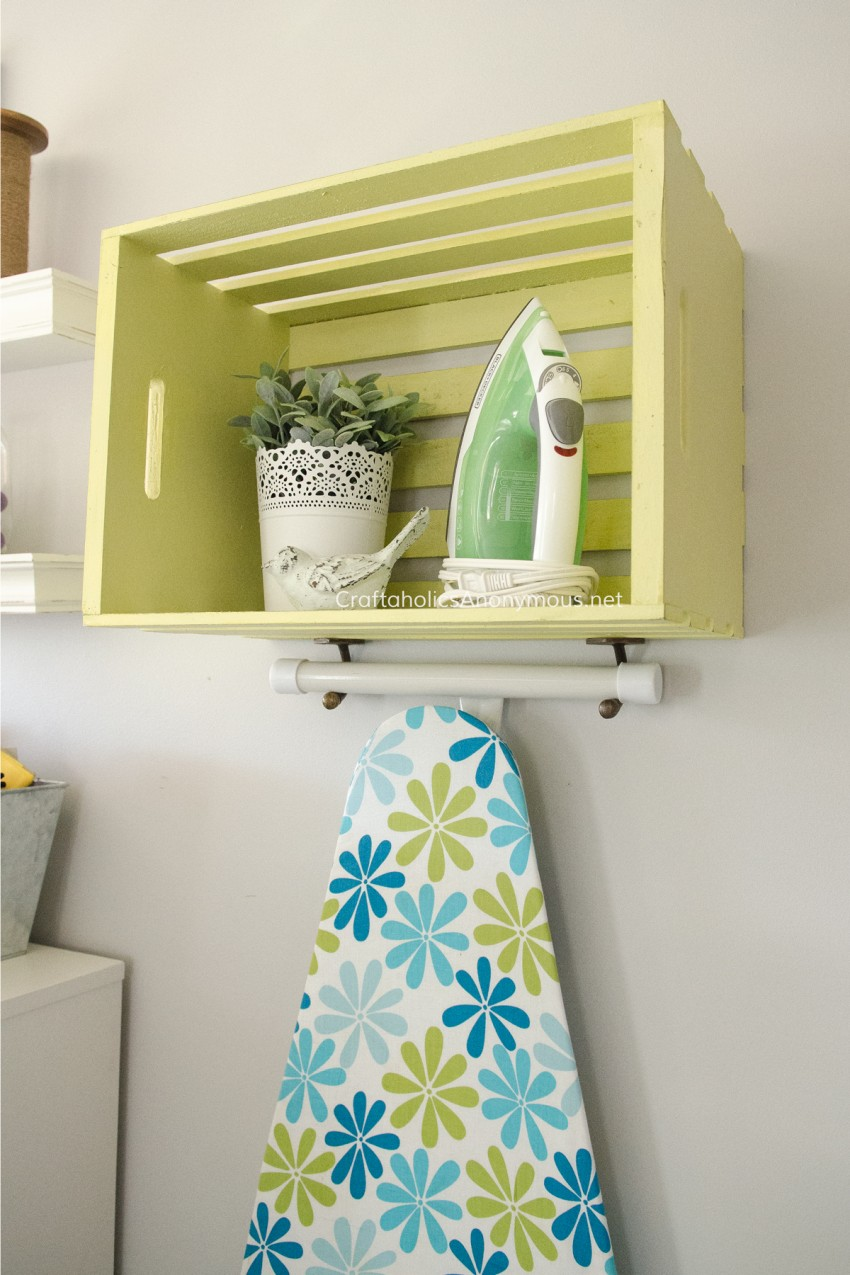 Awesome wood crate craft idea - turn into an ironing organizer