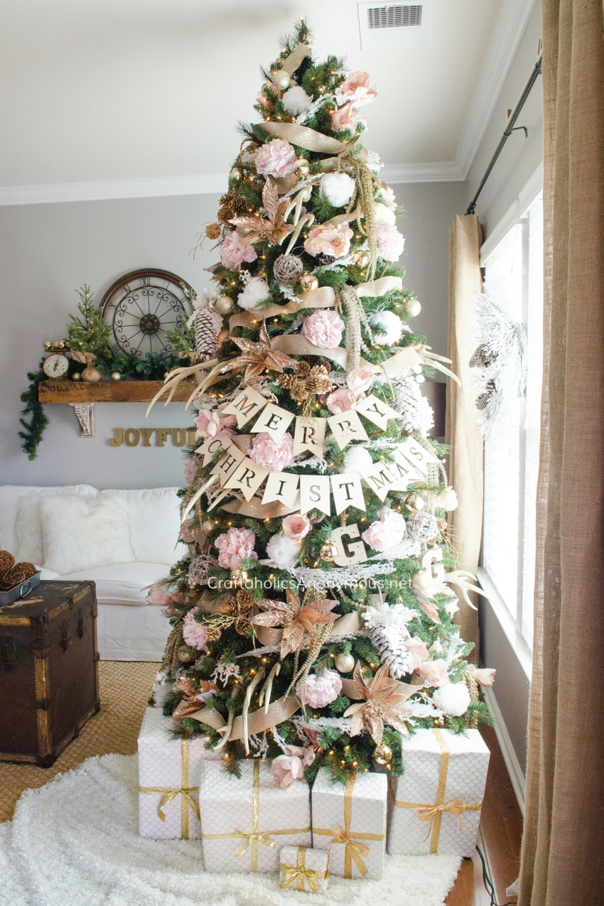 Craftaholics Anonymous Pink And Gold Floral Christmas Tree
