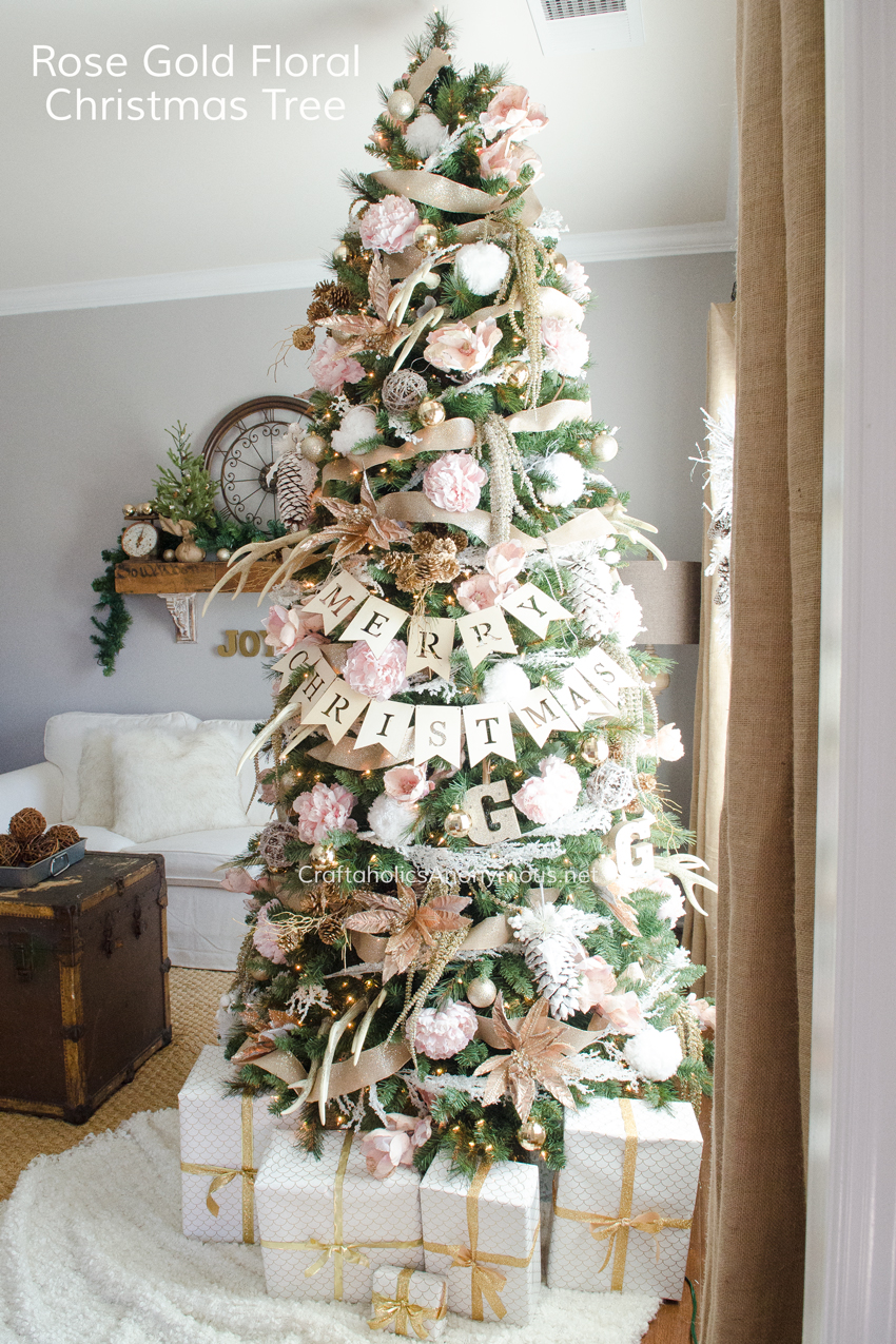 Rose Gold Floral Christmas Tree