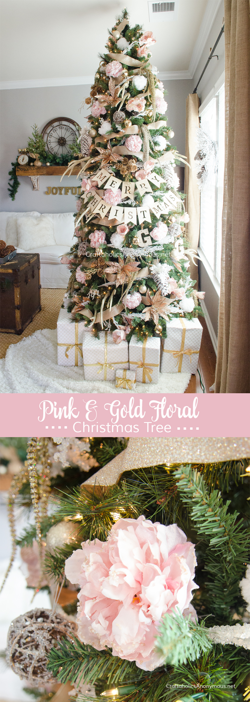 GORGEOUS Pink + Gold Floral Christmas Tree :: Love the peonies!