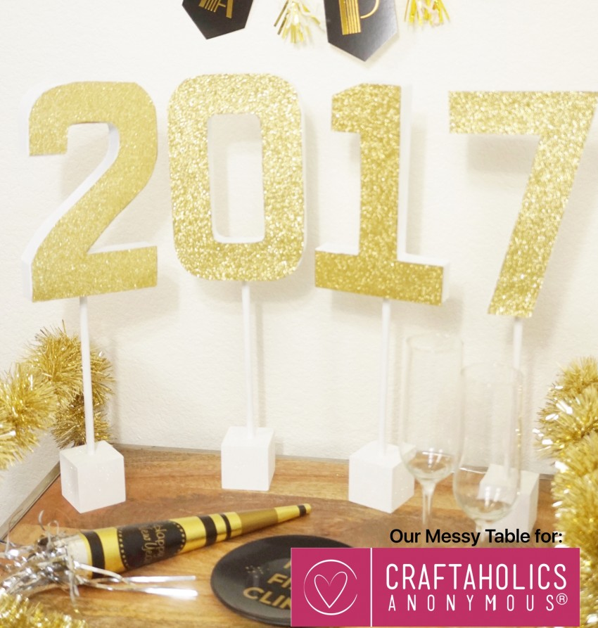 New Year's Eve 2017 Table Topper Glitter 2017 Glitter New Year's Eve Craft