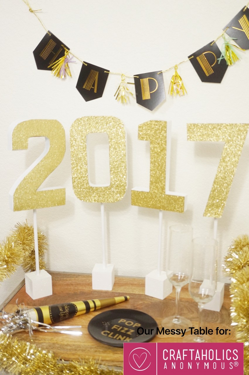 New Year's Craft Glitter Table Topper