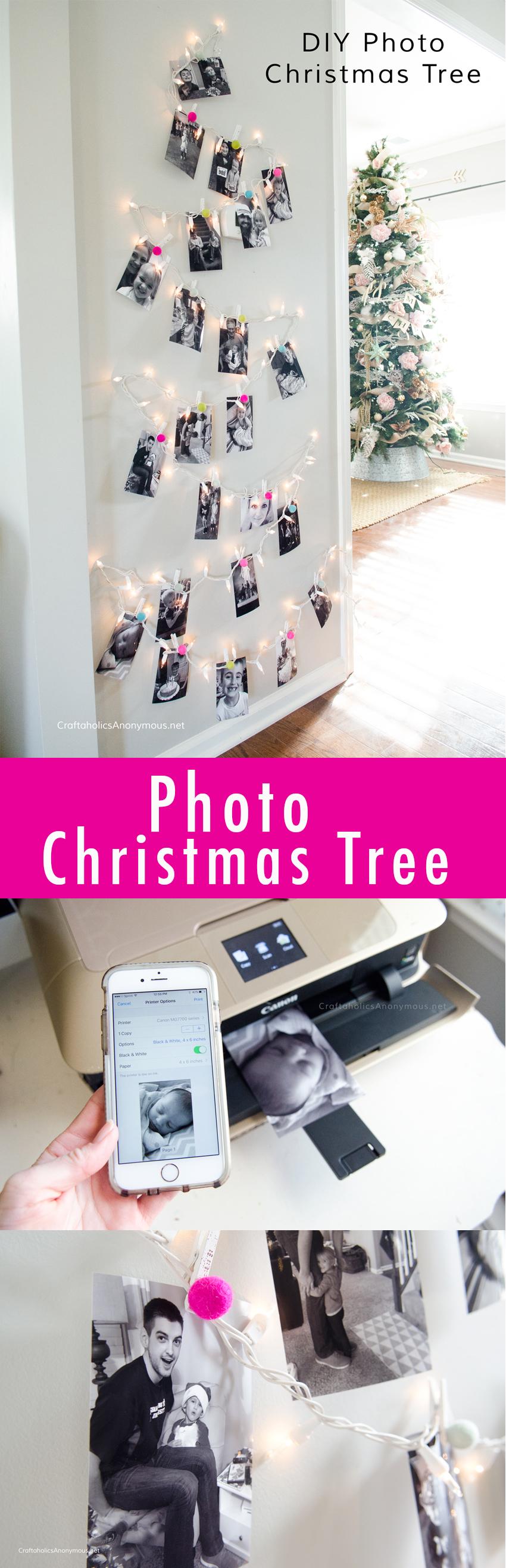 Photo Christmas Tree using twinkle lights and felt balls