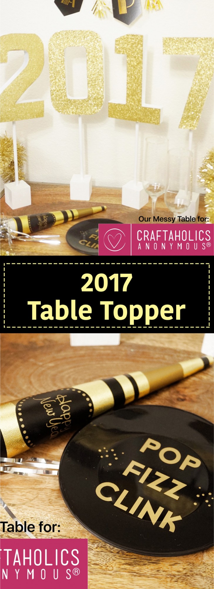 New Year's Table Topper! Easy to make glitter letters to add a little sparkle to your New Year's Eve Party!