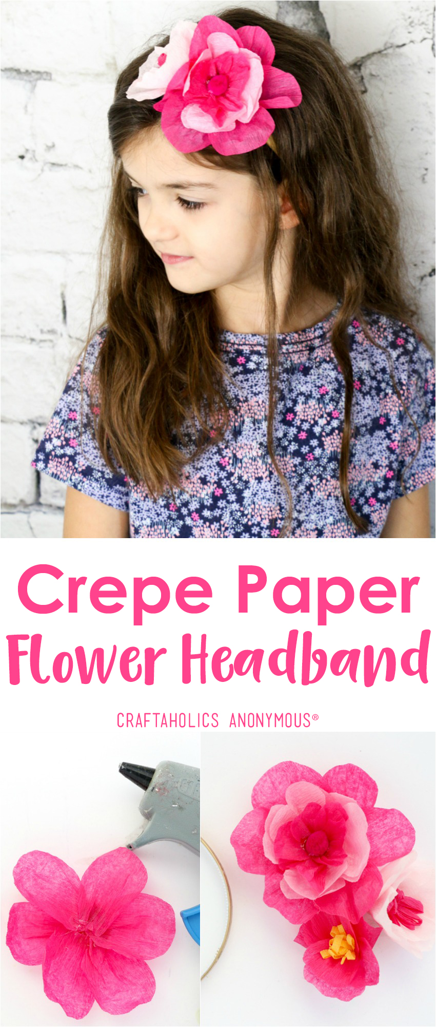 Easy Crepe Paper Flower Headband