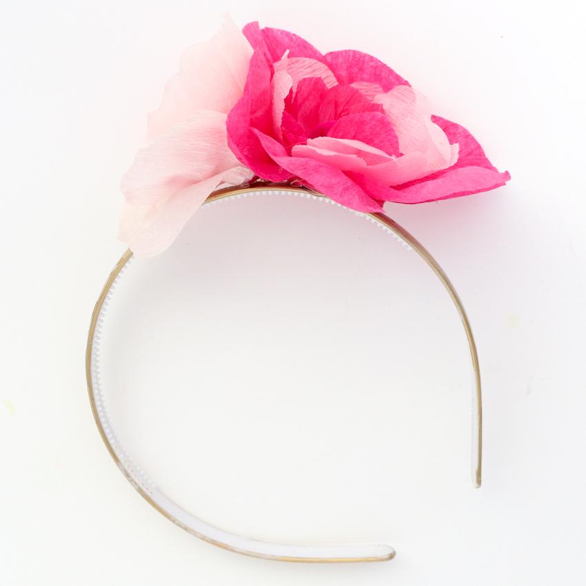 crepe paper mini flower headband tutorial