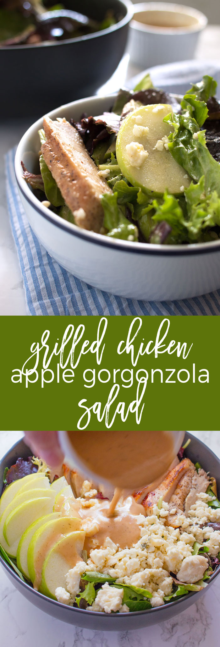 Delicious and Easy Lunch Ideas! Grilled Chicken Salad with Apples and Gorgonzola Cheese will be your new favorite go-to lunch salad!