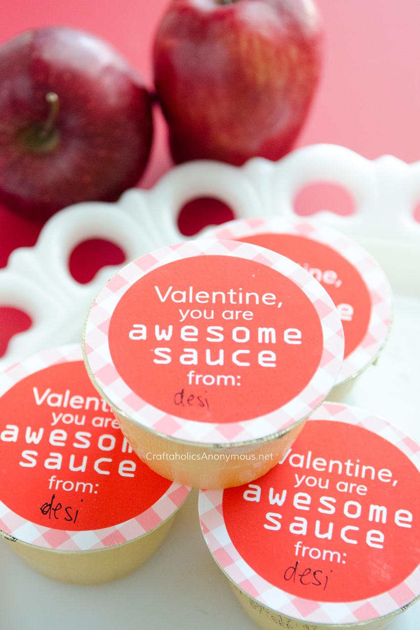 Valentine Printable || Kids Valentine || Preschool Valentine || Healthy Valentine idea with applesauce